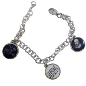 thin three charm bracelet shakespear