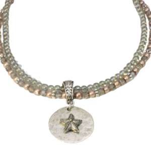 Starfish pearl crystal necklace