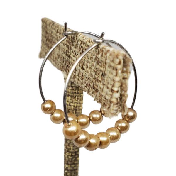 golden beige pearl earrings
