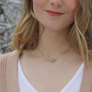 Rose gold druzy pendant necklace