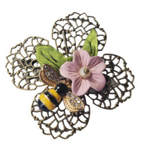 Filigree Flower and Bee Brooch