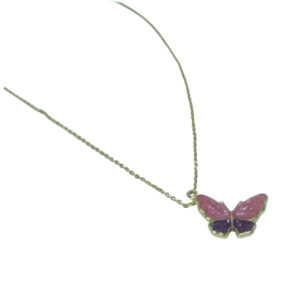 Pink Purple Butterfly Necklace