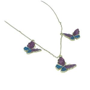 Purple Aqua Butterfly Necklace